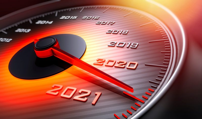 Speedometer,Showing,The,Year,2021,-,3d,Illustration